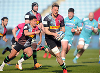 Rugby Union - 2020 / 2021 Gallagher Premiership - Round 16 - Harlequins vs Worcester Warriors - The Stoop<br /> <br /> Alex Dombrandt of Quins on the charge<br /> <br /> Credit : COLORSPORT/ANDREW COWIE