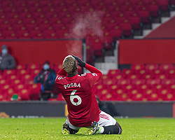 MANCHESTER, ENGLAND - Friday, January 1, 2020: Manchester United's Paul Pogba looks dejected after missing a chance during the New Year's Day FA Premier League match between Manchester United FC and Aston Villa FC at Old Trafford. The game was played behind closed doors due to the UK government putting Greater Manchester in Tier 4: Stay at Home during the Coronavirus COVID-19 Pandemic. (Pic by David Rawcliffe/Propaganda)