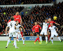 Cardiff City's Steven Caulker scores the winning goal of the game - Photo mandatory by-line: Joe Meredith/JMP - Tel: Mobile: 07966 386802 03/11/2013 - SPORT - FOOTBALL - The Cardiff City Stadium - Cardiff - Cardiff City v Swansea City - Barclays Premier League
