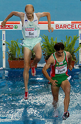 Bostjan Buc of Slovenia and Alberto Paulo of Portugal compete in the Mens 3000m Steeplechase Final during day six of the 20th European Athletics Championships at the Olympic Stadium on August 1, 2010 in Barcelona, Spain. (Photo by Vid Ponikvar / Sportida)