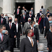 House Republicans arrive for a press event on Tuesday, September 15, 2020 to introduce the House Republican's new 'Commitment to America' policy initiative.