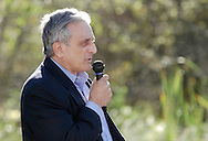 Middletown, New York - Republican gubernatorial candidate Carl Paladino speaks during a forum hosted by the Orange/Sullivan County 912 Tea Party in the parking lot outside party headquarters on Oct. 9, 2010.