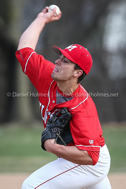 (4/13/17, MILFORD, MA) Milford's Zach Tamagni delivers a pitch during the baseball game against Franklin at Fino Field in Milford on Thursday. [Daily News and Wicked Local Photo/Dan Holmes]