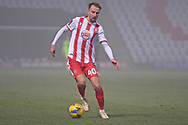 Stevenage midfield Chris Lines(40)runs forward during the FA Cup match between Stevenage and Swansea City at the Lamex Stadium, Stevenage, England on 9 January 2021.