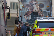 The morning after the terrorist attack at Fishmongers Hall on London Bridge, in which Usman Khan (a convicted, freed terrorist) killed 2 during a knife a attack, then subsequently tackled by passers-by and shot by armed police - members of the public as for directions from officers at the cordoned off area, on 30th November 2019, in London, England.