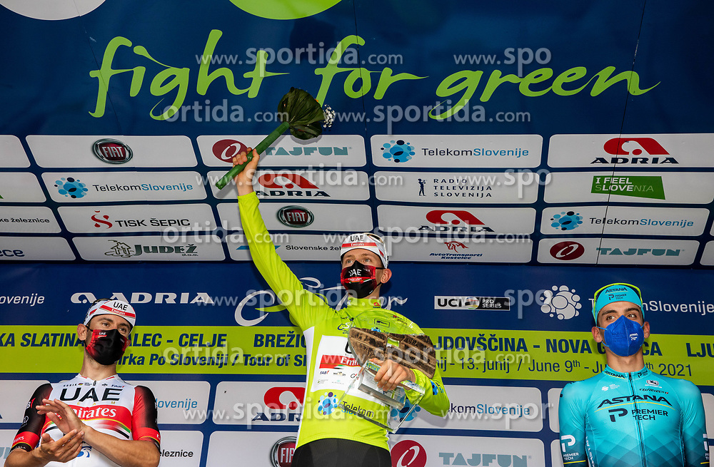 Overall Second placed Diego ULISSI of UAE TEAM EMIRATES, winner Tadej POGACAR of UAE TEAM EMIRATES and third placed Matteo SOBRERO of ASTANA - PREMIER TECH celebrate at trophy ceremony during the 5th Stage of 27th Tour of Slovenia 2021 cycling race between Ljubljana and Novo mesto (175,3 km), on June 13, 2021 in Slovenia. Photo by Vid Ponikvar / Sportida