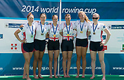Aiguebelette, FRANCE.  left Silver Medalist. USA1 W2-Megan KALMOE and Kerry, SIMMONDS, centre Gold Medallist GBR W2X. Helen GLOVER and Heather STANNING. Bronze medalist USA2 W2- Grace LUCZAK and Caroline LIND. <br /> Sunday, Finals at the  2014 FISA World Cup II, 11:28:57  Sunday  22/06/2014. [Mandatory Credit; Peter Spurrier/Intersport-images]