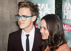 """Grosvenor House Hotel, London, September 7th 2016. Celebrities attend the RSPCA's annual awards ceremony recognising the country's bravest animals and the individuals committed to improving their lives. PICTURED: Tom Fletcher from the band McFly and his wife Giovanna """"Gi"""" Falcone"""