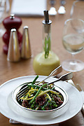 May0037870 . DailyTelegraph..DT Weekend.Restaurant review..Salted Ox Cheek, Dandelion and Green salad on the menu at the new Hix Belgravia restaurant...London 16 February 2012