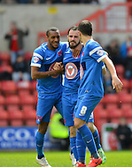 Leyton Orient's Chris Dagnall celebrates his goal during the Sky Bet League 1 match between Swindon Town and Leyton Orient at the County Ground, Swindon, England on 3 May 2015. Photo by Mark Davies.