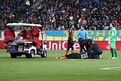 17.02.2015, Arena Lwiw, Lwiw, UKR, UEFA CL, Schachtar Donezk vs FC Bayern Muenchen, Achtelfinale, Hinspiel, im Bild Vyacheslav Shevchuk #13 (Schachtar Donezk) liegt verletzt am Boden und wird behandelt // during the UEFA Champions League Round of 16, 1st Leg match between between Schachtar Donezk and FC Bayern Munich at the Arena Lwiw in Lwiw, Germany on 2015/02/17. EXPA Pictures © 2015, PhotoCredit: EXPA/ Eibner-Pressefoto/ Kolbert<br /> <br /> *****ATTENTION - OUT of GER*****