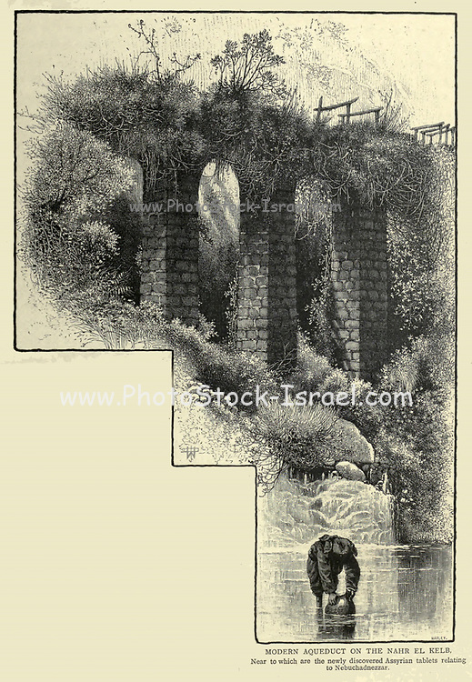 Wood engraving of the Modern aqueduct on the Nahr el Kelb near to which are the newly discovered Assyrian tablets relating to Nebuchadnezzar. from 'Picturesque Palestine, Sinai and Egypt' by Wilson, Charles William, Sir, 1836-1905; Lane-Poole, Stanley, 1854-1931 Volume 3. Published in by J. S. Virtue and Co 1883
