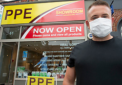 ©Licensed to London News Pictures 15/07/2020     <br /> Chislehurst, UK. Raymond Smith outside his shop. Business man and director Raymond Smith has opened a PPE shop on Chislehurst High Street in Chislehurst, South East London. Bringing wholesale prices to the public with no online waiting time its believed to be the first high street shop of its kind in the UK helping in the fight against coronavirus. Photo credit: Grant Falvey/LNP
