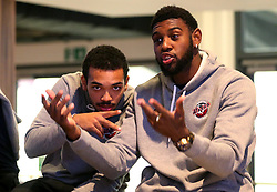 Leslee Smith and Adam Weary of Bristol Flyers take part in the 2017/18 season Launch event at Ashton Gate - Mandatory by-line: Robbie Stephenson/JMP - 11/09/2017 - BASKETBALL - Ashton Gate - Bristol, England - Bristol Flyers 2017/18 Season Launch