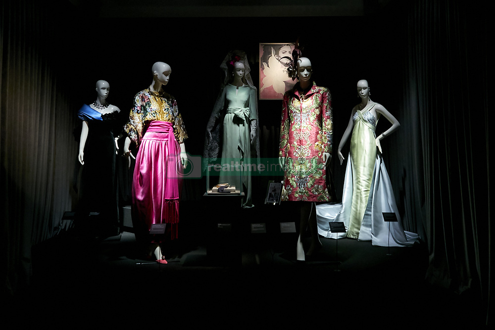 October 9, 2018 - Madrid, Spain - Naty Abascal's dresses are exhibited during 'TELVA tributo. Una cronica de moda. Coleccion Naty Abascal' exhibition at Royal Academy of Fine Arts of San Fernando in Madrid. (Credit Image: © Legan P. Mace/SOPA Images via ZUMA Wire)