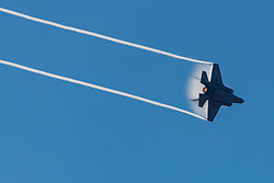 YMFA_!@@ Jet Fighter performs a manuver at the Miramar Air Show 2018 at the Marine Air Station in Miramar California.