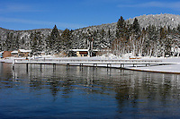 24 February 2008: Kings Beach Pier covered in snow after a late winter storm in Lake Tahoe, Truckee Nevada California border in the Sierra Mountains.