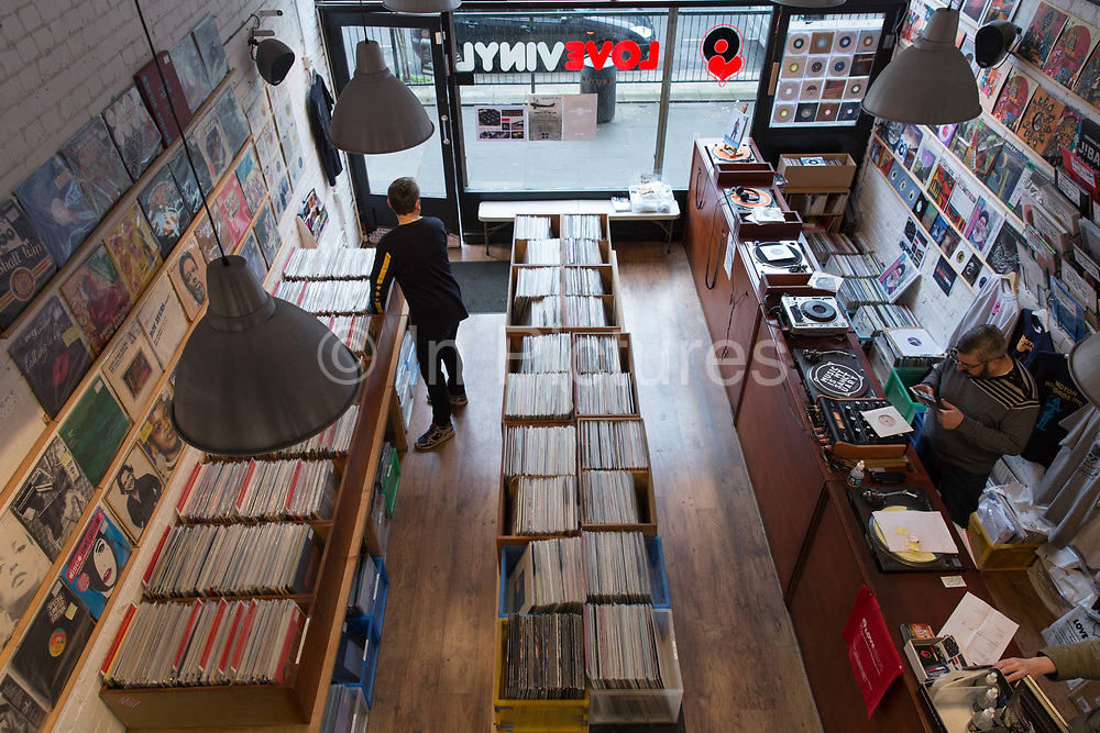 East London's Love Vinyl record shop in Shoreditch on the 29th March 2018 in London, United Kingdom