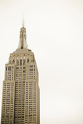 Empire State Building on a foggy day in New York City