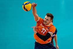 Michael Parkinson of Netherlands in action during the CEV Eurovolley 2021 Qualifiers between Croatia and Netherlands at Topsporthall Omnisport on May 16, 2021 in Apeldoorn, Netherlands
