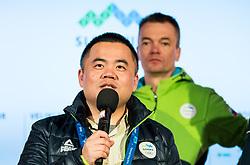 PYEONGCHANG-GUN, SOUTH KOREA - FEBRUARY 24: Zhihia XU in Slovenia House when Bronze medalist Zan Kosir of Slovenia celebrates after the Men's Parallel Giant Slalom Elimination Run on day fifteen of the PyeongChang 2018 Winter Olympic Games on February 24, 2018 in Pyeongchang-gun, South Korea. Photo by Ronald Hoogendoorn / Sportida
