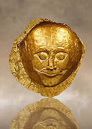 Gold Death Mask  from Grave V, Grave Circle A, Mycenae. The mask is made of a thin sheet of beaten gold and is the only mask from grave circle A with eyes open. 16th century BC. Cat No 259 Athens Archaeological Museum. .<br /> <br /> If you prefer to buy from our ALAMY PHOTO LIBRARY  Collection visit : https://www.alamy.com/portfolio/paul-williams-funkystock/mycenaean-art-artefacts.html . Type -   Athens    - into the LOWER SEARCH WITHIN GALLERY box. Refine search by adding background colour, place, museum etc<br /> <br /> Visit our MYCENAEN ART PHOTO COLLECTIONS for more photos to download  as wall art prints https://funkystock.photoshelter.com/gallery-collection/Pictures-Images-of-Ancient-Mycenaean-Art-Artefacts-Archaeology-Sites/C0000xRC5WLQcbhQ
