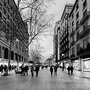 Barcelona, Spain - February 18, 2018 - Avinguda del Portal de l'Àngel is popular Pedestrian zone in Barcelona.<br /> <br /> Image: © Rod Mountain<br /> http://www.rodmountain.com<br /> <br /> @spain @barcelona_cat<br /> <br /> @spain.info @bcn.cat<br /> <br /> @spain @barcelona_cat<br /> <br /> https://en.wikipedia.org/wiki/Portal_de_l%27Àngel<br /> https://www.barcelona.cat/en/<br /> https://en.wikipedia.org/wiki/Barcelona<br /> https://www.spain.info/en/que-quieres/ciudades-pueblos/grandes-ciudades/barcelona.html<br /> https://www.spain.info/en/<br /> <br /> #pedestrianzone #ourstreets #streets #mytravelgram#travelingram#sharetravelpics#worldtravelpics #stayandwander#touring #walkabout #travelandlife #travels #traveleurope #tourism #tourismspain #ig_europe #barcelona #spain #bnw_zone #bnw_daily #bnwphotography #bnw_lovers #bnw_barcelona
