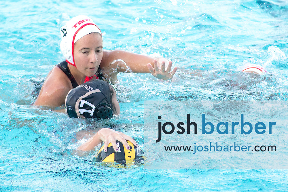 Troy's Alex Dowell (18), Canyon's Emmalee Sproul (17) during nonleague girls water polo at Canyon High School on Friday, January 8, 2016 in Anaheim, California. Troy won 14-6. (Photo/Josh Barber)
