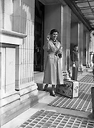 08/06/1954<br /> 06/08/1954<br /> 08 June 1954<br /> Model wearing Leather coat fashion from Greenwich Leathercloth Co. Ltd. at the Gresham Hotel Dublin. For Mr M.L. Conway, 48 Abbey Street Dublin.