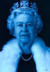© Licensed to London News Pictures. 16/05/2012. London,Britain.A holograph portrait of the Queen Elizabeth II by Chris Levine which is exhibited in the National Portrait Gallery as part of exhibition The Queen : Art & Image .The exhibition includes formal painted portraits, official photographs, press images and works by contemporary artists exploring the evolution of the Queen's image throughout the 60 years of her reign.Photo credit : Thomas Campean/LNP