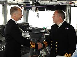 HMS Queen Elizabeth, Rosyth,24-5-2016        <br /> <br /> Cpt Kid and Cpt Petitt<br /> <br /> (c) David Wardle   Edinburgh Elite media