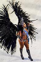 Carnaval queen in the Carnaval parade of Unidos de Vila Isabel samba school in the Sambadrome, Rio de Janeiro, Brazil.