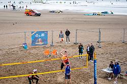 Alexander Brouwer, Robert Meeuwsen in action. The DELA NK Beach volleyball for men and women will be played in The Hague Beach Stadium on the beach of Scheveningen on 22 July 2020 in Zaandam.