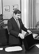Ray McSharry On Budget Day.  (R71)..1988..27.01.1988..01.27.1988..27th January 1988..Mr Ray McSharry TD, Minister for Finance,presented his budget in Dáil Éireann today...Locked and loaded, the Minister snaps shut the case on his budget before presentation to the Dáil