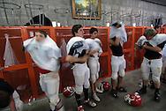 11/7/07 Smith Center, KS.Smith Center High School football team dresses for practice...(Chris Machian/Prairie Pixel Group)