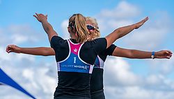 Raïsa Schoon, Katja Stam celebrate. The Final Day of the DELA NK Beach volleyball for men and women will be played in The Hague Beach Stadium on the beach of Scheveningen on 23 July 2020 in Zaandam.
