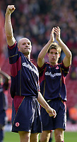 Photo: Greig Cowie, Digitalsport<br /> 27/09/2003.<br /> FA Barclaycard Premiership. Southampton v Middlesbrough, The St Marys Stadium.<br /> Danny Mills and Chris Riggott salute the travelling supporters