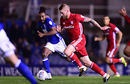 Aaron Gunnarsson of Cardiff City (r) in action with Jacques Maghoma of Birmingham city .EFL Skybet championship match, Birmingham city v Cardiff city at St.Andrew's stadium in Birmingham, the Midlands on Friday 13th October 2017.<br /> pic by Bradley Collyer, Andrew Orchard sports photography.