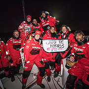 Leg 7 from Auckland to Itajai, day 13 on board MAPFRE, Crew picture rounding Cape Horn after resume the race , 30 March, 2018.