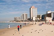 Israel, Tel Aviv coastline the Sheraton Hotel in the centre Winter February 2008