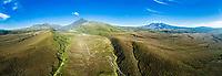 Panoramic aerial view of Mts. Ngauruhoe & Ruapehu, Tongariro National Park, North Island, New Zealand