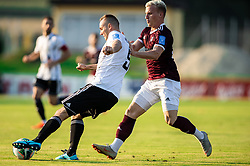 Matic Maruško of Mura vs Gaber Petric of Triglav during football match between NK Triglav and NS Mura in 5th Round of Prva liga Telekom Slovenije 2019/20, on August 10, 2019 in Sports park, Kranj, Slovenia. Photo by Vid Ponikvar / Sportida