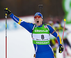 16.01.2011, Chiemgau Arena, Ruhpolding, GER, IBU Biathlon Worldcup, Ruhpolding, Pursuit Men, im Bild Sieger Bjoern Ferry (SWE) // Bjoern Ferry (SWE) wins the race and celebrate during IBU Biathlon World Cup in Ruhpolding, Germany, EXPA Pictures © 2011, PhotoCredit: EXPA/ J. Feichter
