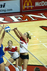 26 September 2006: Mary Catherine Richmond watches intensely as Katie Seyller wins the battle at the net. The match was tough and it took the Illinois State Redbirds 5 games to defeat the St. Louis University Billikens. The match took place at Redbird Arena on the campus of Illinois State University in Normal Illinois.