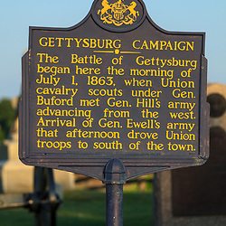Gettysburg, PA, USA - March 23, 2012: The Gettysburg Campaign Historic Marker Sign.