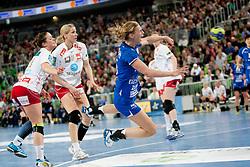 Daniela De Oliveira Piedade #5 of Krim during handball match between RK Krim Mercator (SLO) and Larvik HC (NOR) in second game of semi final of EHF Women's Champions League 2012/13 on April 13, 2013 in Arena Stozice, Ljubljana, Slovenia. (Photo By Urban Urbanc / Sportida)
