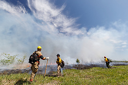 Controlled burn on the Matthews Prairie, owned by the Native Prairies Association of Texas. Farmersville, Texas, USA.