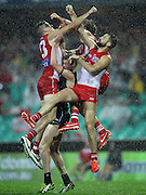 Andrejs Everitt and Nick Malceski of the Swans contest a mark during the 2013 AFL Round 14 match between the Sydney Swans and the Carlton Blues at the SCG, Sydney on June 28, 2013. (Photo: Craig Golding/AFL Media)