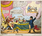 Economy':  Lord Brougham as John Bull, calling on the Prince Regent (later George IV) to retrench and curb his extravagance and to think of the people.  Unless he does he will end up in rags (vision at top right).  Sitting next to the Regent is his mistress, Lady Hertford. Cartoon by George Cruikshank, London 1816.