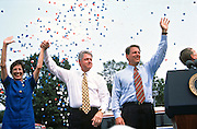US President Bill Clinton with Vice President Al Gore during a campaign stop on their bus tour August 30, 1996 in Cape Girardeau. MO.